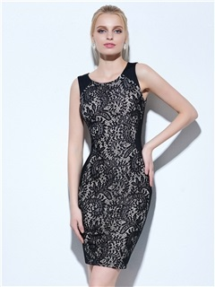 Cool Scoop Neck Sheath Lace Cocktail Dress 3