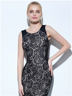 Cool Scoop Neck Sheath Lace Cocktail Dress