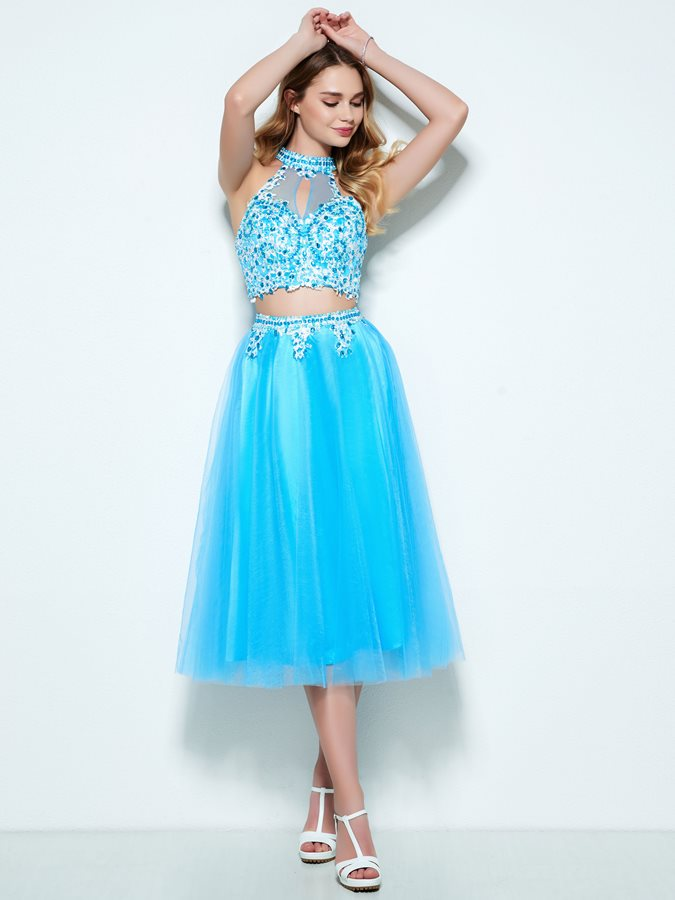 Fancy Halter Appliques Beading Two Piece Homecoming Dress