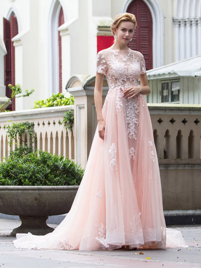 Scoop A-Line Short Sleeves Appliques Long Evening Dress