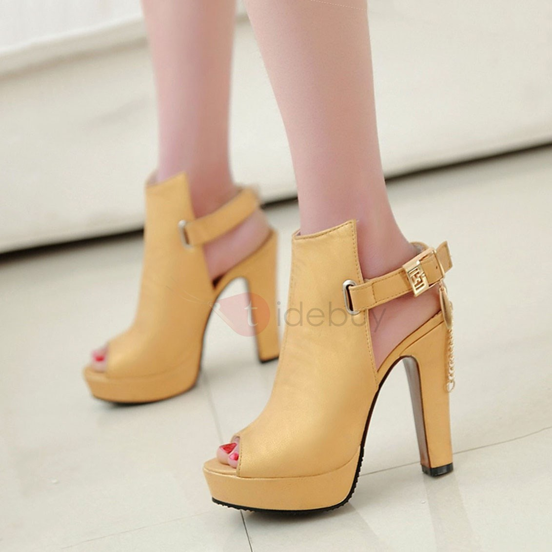 PU Peep-Toe Buckles Sandals