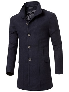 Single-Breasted Plain Men's Medium Style Coat 43