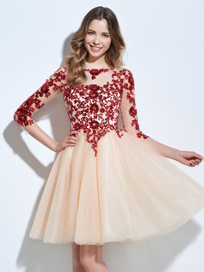 3/4 Length Sleeves Sequins Appliques Homecoming Dress