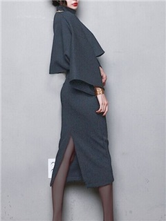 Vintage Placketing Bat Sleeve High Collar 2-Piece Sets