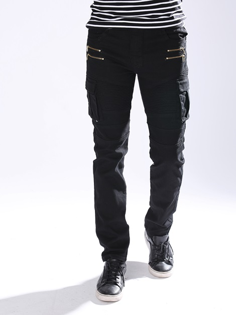 Multi-Zip Pocket Men's Elastic Jeans