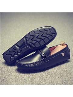 Contrast Color PU Slip-On Driving Shoes