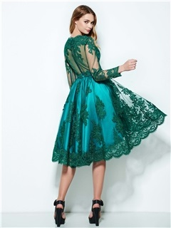 Bateau Neck Long Sleeves Appliques High Low Homecoming Dress