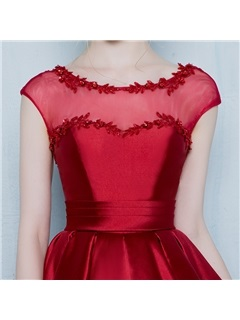 Chic Scoop Neck Appliques Cap Sleeves High Low Homecoming Dress