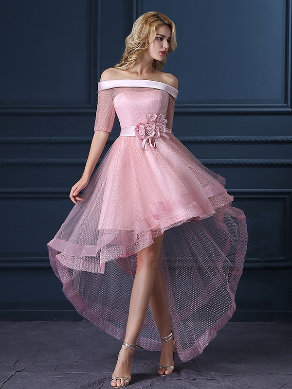 Fancy Off the Shoulder Half Sleeves High Low Homecoming Dress