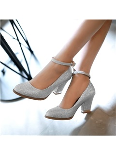 Sequins Ankle Strap Prom Shoes