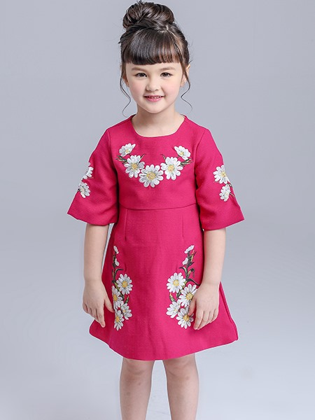Plain Embroidery Short Sleeve Girl's Dress