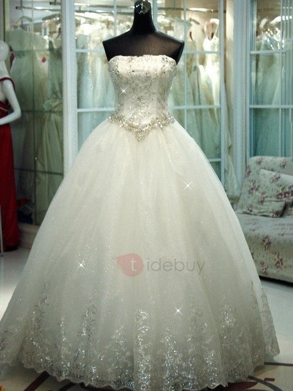 Luxurious Strapless Beaded Sequined Appliques Ball Gown Wedding Dress