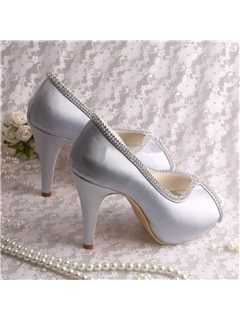 Rhinestone PU Low-Cut Peep Toe Wedding Shoes