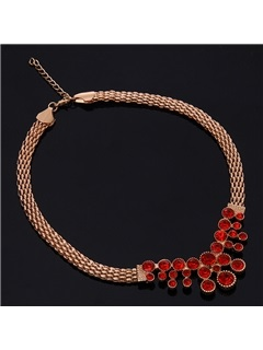 Alloy Flower with Ruby Jewelry Set