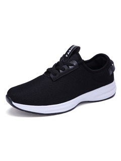 Breathable Solid Color Lace-Up Men's Sneakers