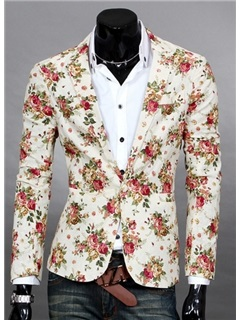 Floral Printed Lapel Men's Casual Blazer 15