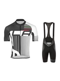 Polyester Striped Print Cycle Jersey And Bib Shorts