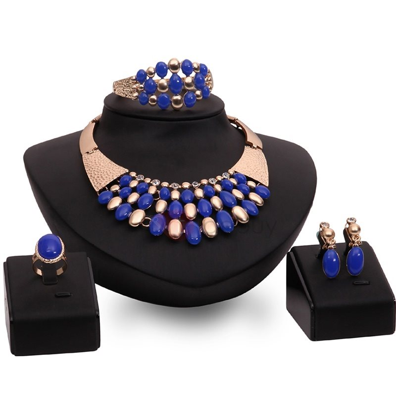 Blue Gemstones Decor Four Pieces Jewelry Set