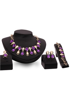 Purple Gemstones Inlaid Four Pieces Jewelry Set