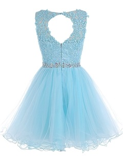Scoop Neck Appliques Beading Short Homecoming Dress