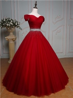 Off the Shoulder Beading Ball Gown Quinceanera Dress
