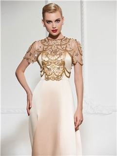 Fancy Jewel A-Line Short Sleeves Beading Split-Front Court Train Evening Dress