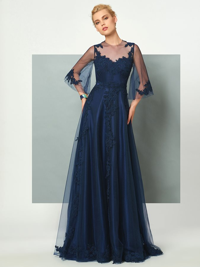 Jewel A-Line 3/4 Sleeves Appliques Evening Dress