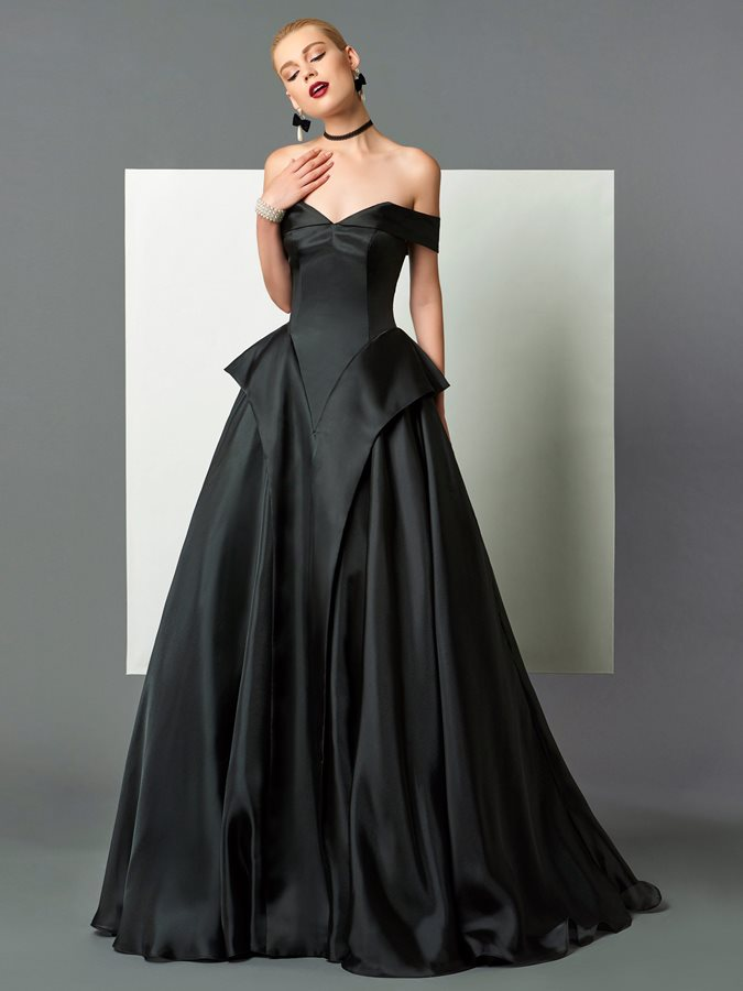 A-Line Off-the-Shoulder Ruffles Black Evening Dress