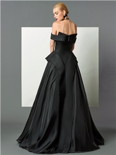 Gorgeous A-Line Off-the-Shoulder Cap Sleeves Ruffles Sweep Train Evening Dress
