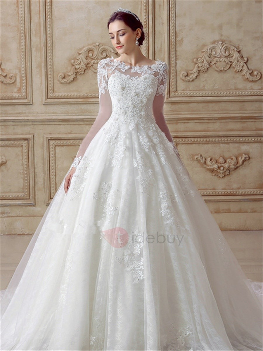 Pretty Appliques Long Sleeves A Line Tulle Wedding Dress