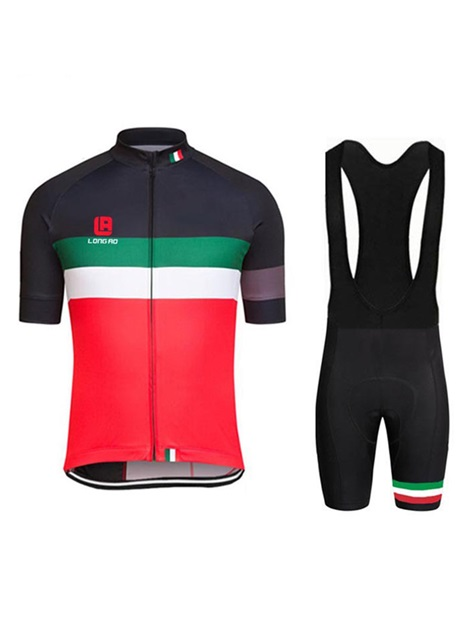 Polyester Italian Flag Men's Cycle Jersey And Bib Shors