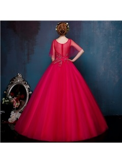 Amazing Scoop Neck Cap Sleeves Beading Ball Gown Quinceanera Dress