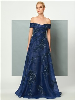 Popular A-Line Off-the-Shoulder Appliques Lace Sequins Sweep Train Evening Dress