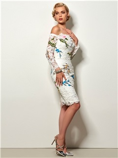 Fancy Sheath Off-the-Shoulder Long Sleeves Appliques Embroidery Lace Knee-Length Cocktail Dress