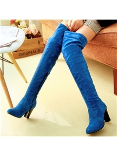 Suede Slim Chunky Heel Thigh High Boots