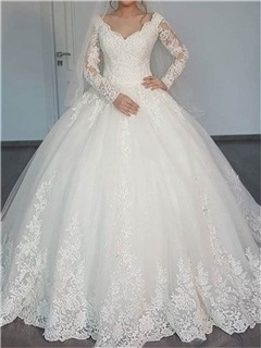 Appliques Muslim Wedding Dress with Long Sleeve 63