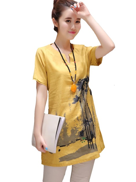Stylish Chinese Ink and Wash Mid-length T-Shirt