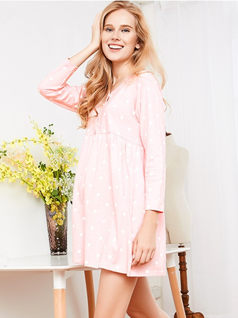 Simple V-Neck Button-Front Maternity Dress