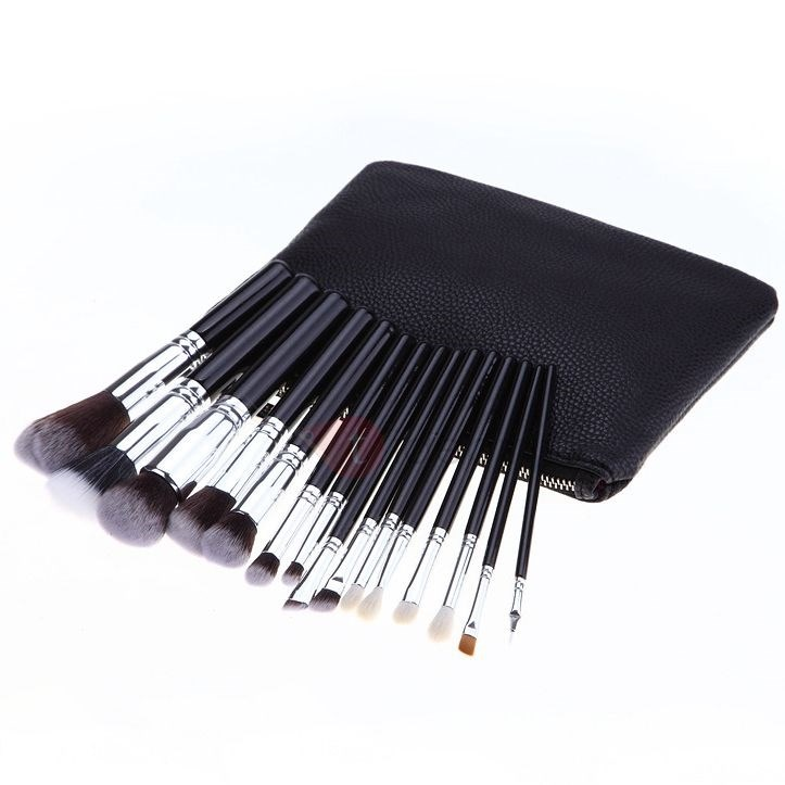 15-Piece Nylon Brush Bristles Makeup Brushes With Pouch Bag