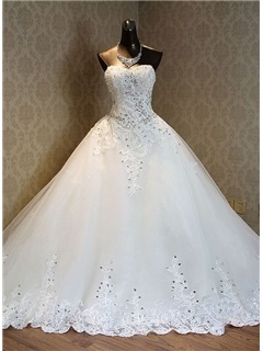 Strapless Beading Appliques Wedding Dress 30