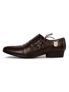 PU Ruffles Lace-Up Men's Dress Shoes