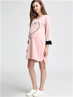 Vogue Color Block Lettered Maternity Dress