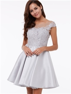 Sheer Neck Cap Sleeves Appliques Short Homecoming Dress 20