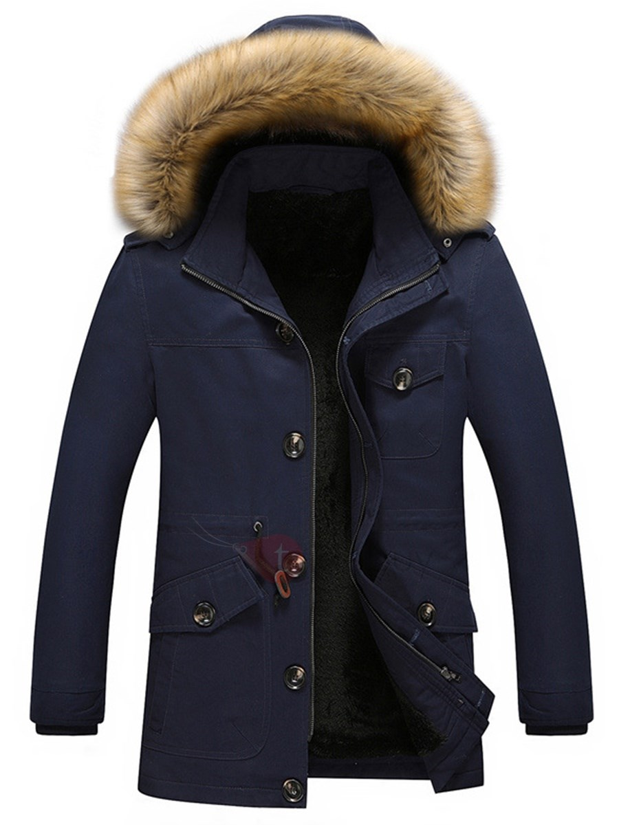 Zipper Buttons Hooded Men's Thicken Down Jacket
