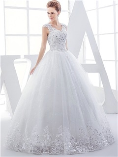 V-Neck Beaded Appliques Ball Gown Tulle Wedding Dress