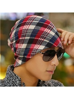 Double Layers Colorful Grid Men's Hat