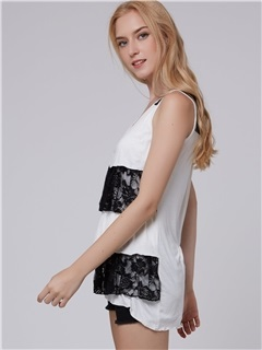 Sweet Lace Round Neck Tank Top