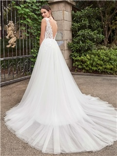 High Quality V Neck Backless Lace Mermaid Wedding Dress