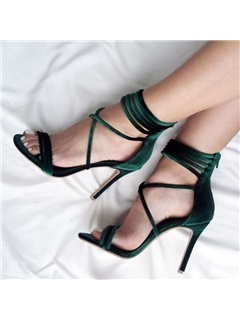 Suede Zipper Stiletto Heel Fashion Sandals