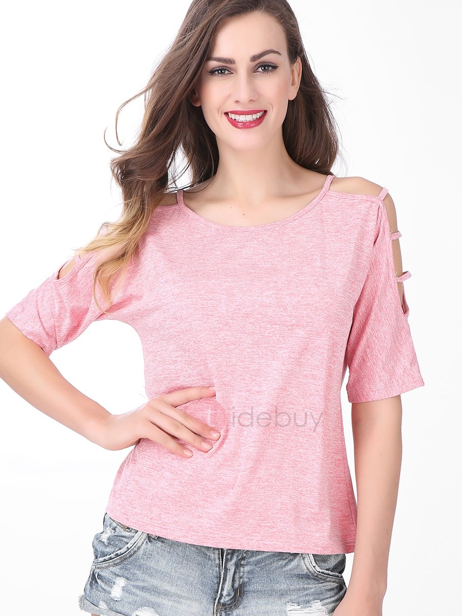 Casual Multi Color Shoulder Designed T-Shirt